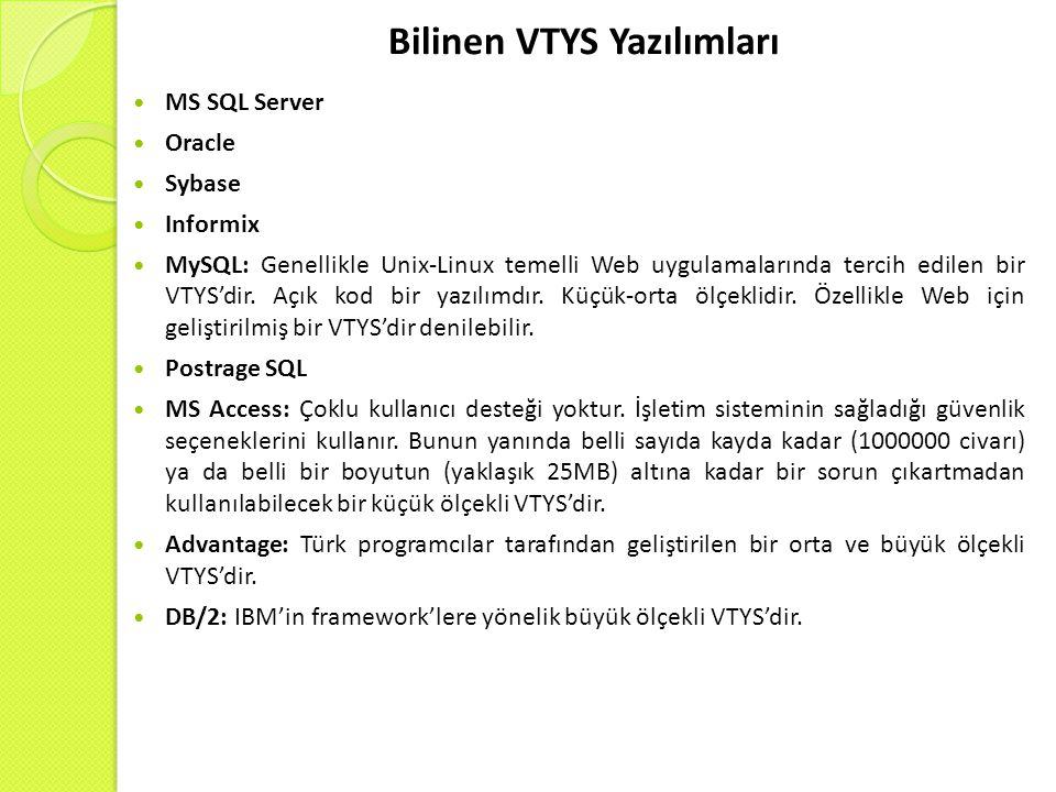 Bilinen VTYS Yazılımları MS SQL Server Oracle Sybase Informix MySQL: Genellikle Unix-Linux temelli Web uygulamalarında tercih edilen bir VTYS'dir.