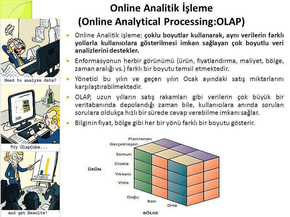 Online Analitik İşleme (Online Analytical Processing:OLAP) Online Analitik işleme; çoklu boyutlar kullanarak, aynı verilerin farklı yollarla kullanıcılara gösterilmesi imkan sağlayan çok boyutlu veri analizlerini destekler.