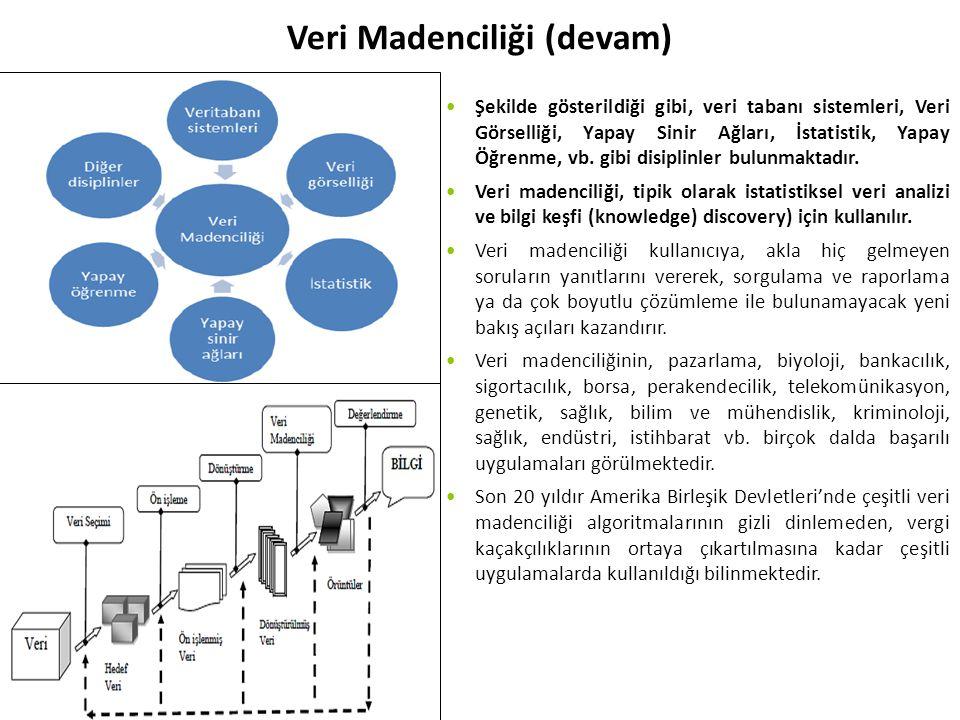 Veri Madenciliği (devam) Şekilde gösterildiği gibi, veri tabanı sistemleri, Veri Görselliği, Yapay Sinir Ağları, İstatistik, Yapay Öğrenme, vb.