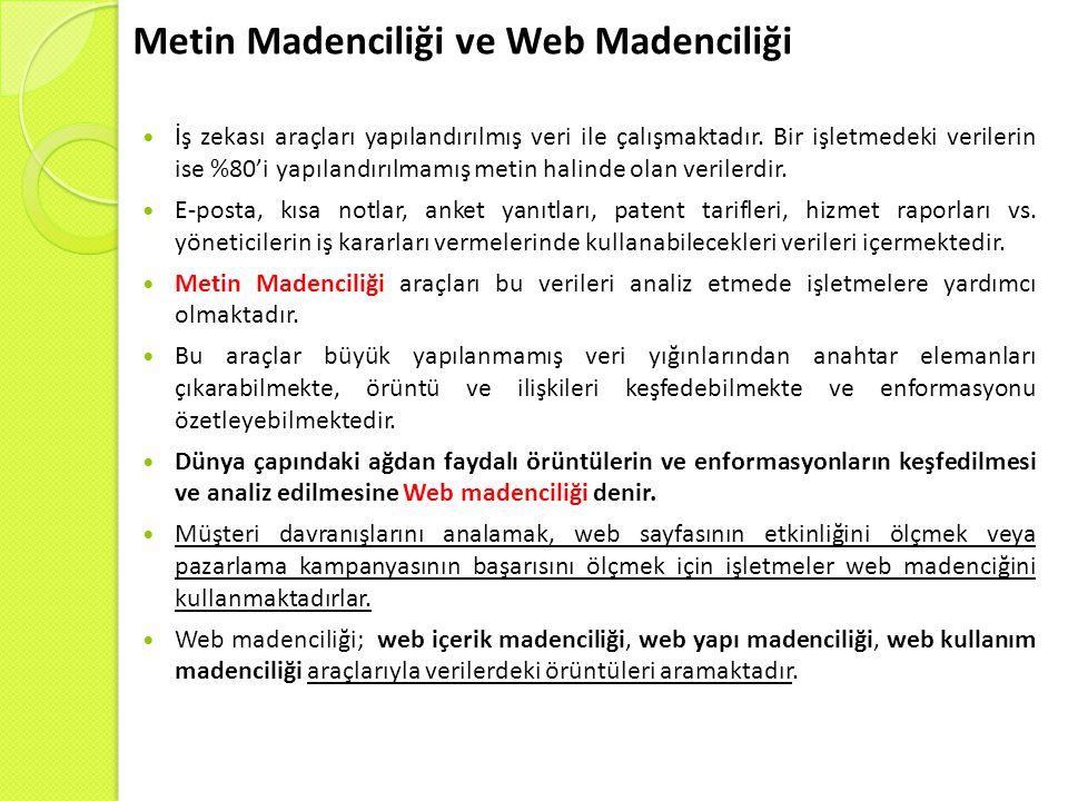 Metin Madenciliği ve Web Madenciliği İş zekası araçları yapılandırılmış veri ile çalışmaktadır.