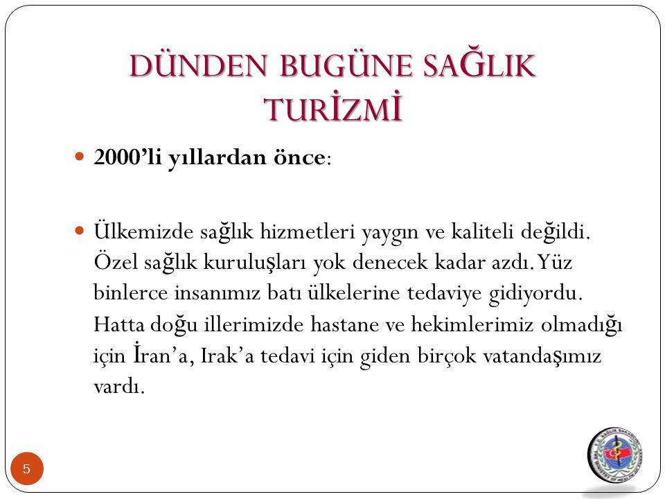 T.C Sağlık Bakanlığı Stratejik Eylem Planı (2010-2014) Hedef 2.9.2 Sağlık hizmeti sunumunda Türkiye'yi bölgesinde cazibe merkezi haline getirmek  Sektör ve STK'larla sağlık turizmi alanında işbirliği yapılacak,  Sağlık turizmini yürüten ve yürütecek tesislere ait kriterler belirlenecek ve denetimleri sağlanacak,  Termal-kaplıca turizmine sahip bölgelerde kamu-özel sektörün yurt dışı sağlık turizmi çalışmalarına destek olunacak,  Medikal turizm kamu-özel sektörün yurt dışı sağlık turizmi çalışmalarına destek olunacak,  Hasta kabulünde ve tedavi sırasında yaşanan sorunların en aza indirilmesi için çalışmalara devam edilecektir.