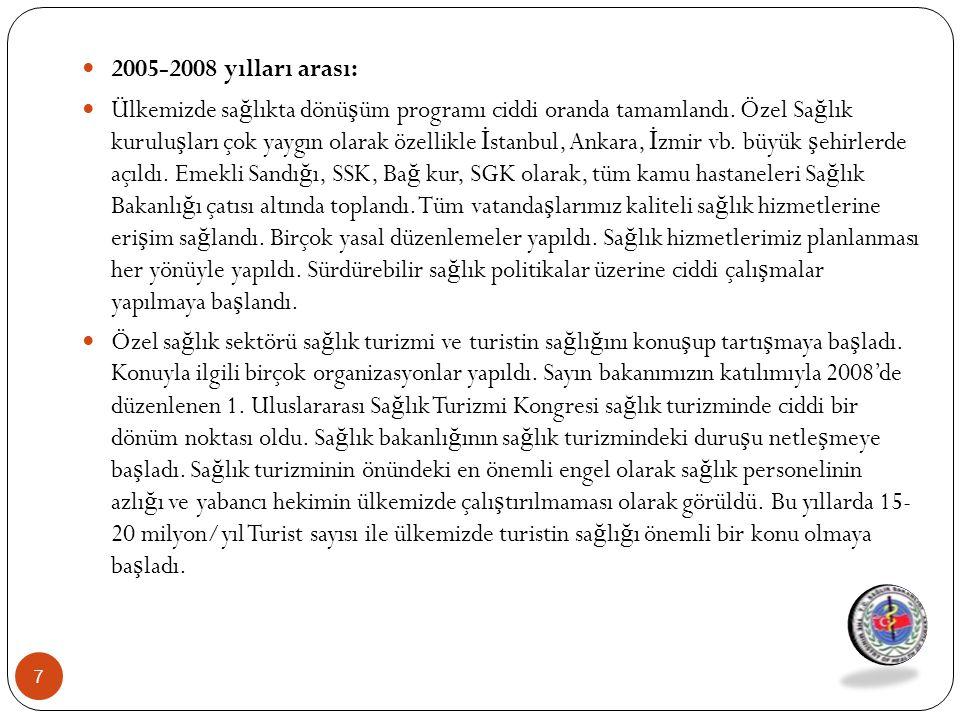 2008-2010 Yılları arası: Sa ğ lık turizmi dünyada ve Türkiye'de en önemli ve hızlı geli ş en hizmet sektörü olarak gündeme oturdu.