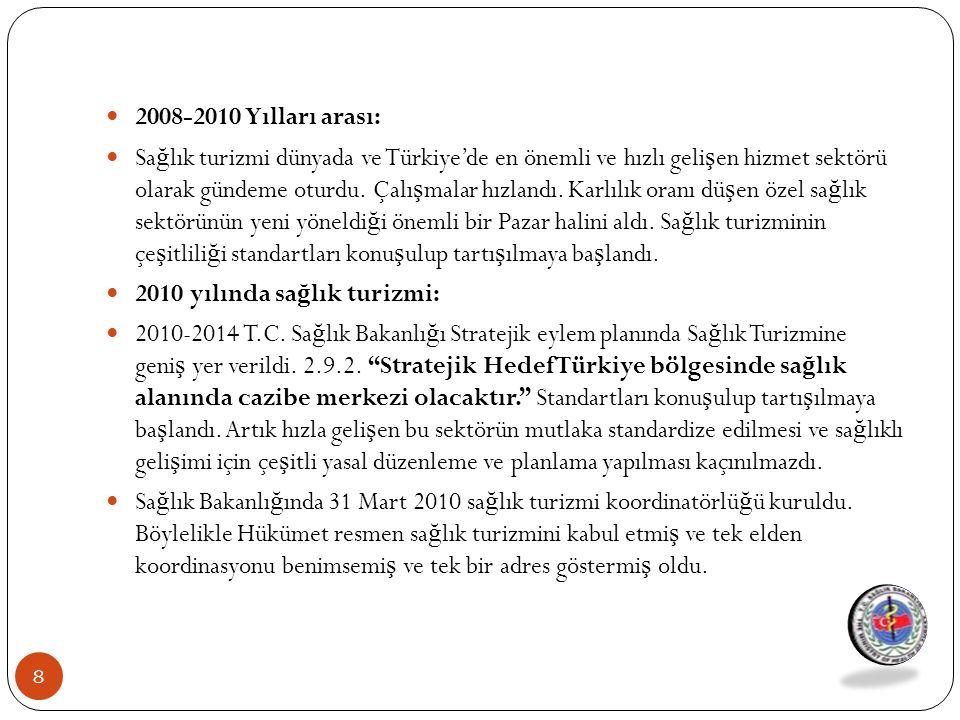 2008-2010 Yılları arası: Sa ğ lık turizmi dünyada ve Türkiye'de en önemli ve hızlı geli ş en hizmet sektörü olarak gündeme oturdu. Çalı ş malar hızlan