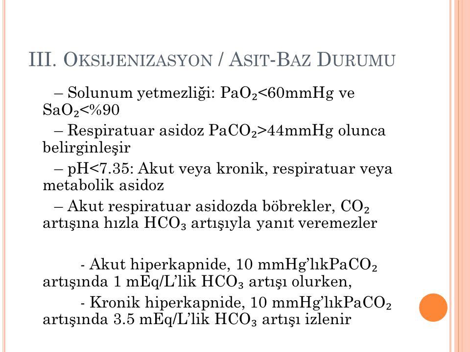 III. O KSIJENIZASYON / A SIT ‐ B AZ D URUMU – Solunum yetmezliği: PaO ₂ <60mmHg ve SaO ₂ <%90 – Respiratuar asidoz PaCO ₂ >44mmHg olunca belirginleşir