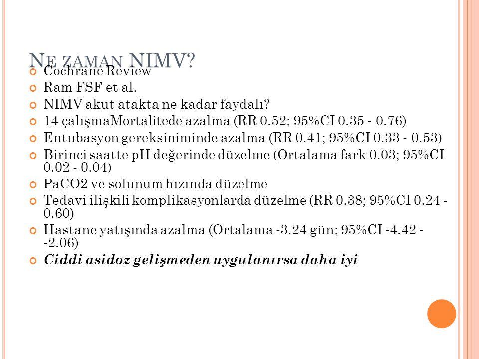 N E ZAMAN NIMV? Cochrane Review Ram FSF et al. NIMV akut atakta ne kadar faydalı? 14 çalışmaMortalitede azalma (RR 0.52; 95%CI 0.35 ‐ 0.76) Entubasyon