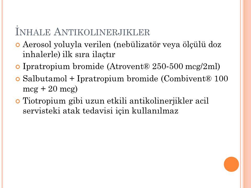 İ NHALE A NTIKOLINERJIKLER Aerosol yoluyla verilen (nebülizatör veya ölçülü doz inhalerle) ilk sıra ilaçtır Ipratropium bromide (Atrovent® 250 ‐ 500 m