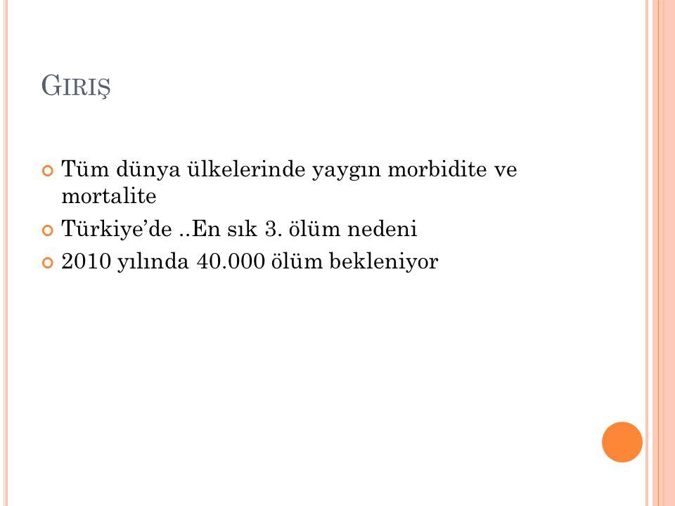 G IRIŞ Tüm dünya ülkelerinde yaygın morbidite ve mortalite Türkiye'de..En sık 3. ölüm nedeni 2010 yılında 40.000 ölüm bekleniyor
