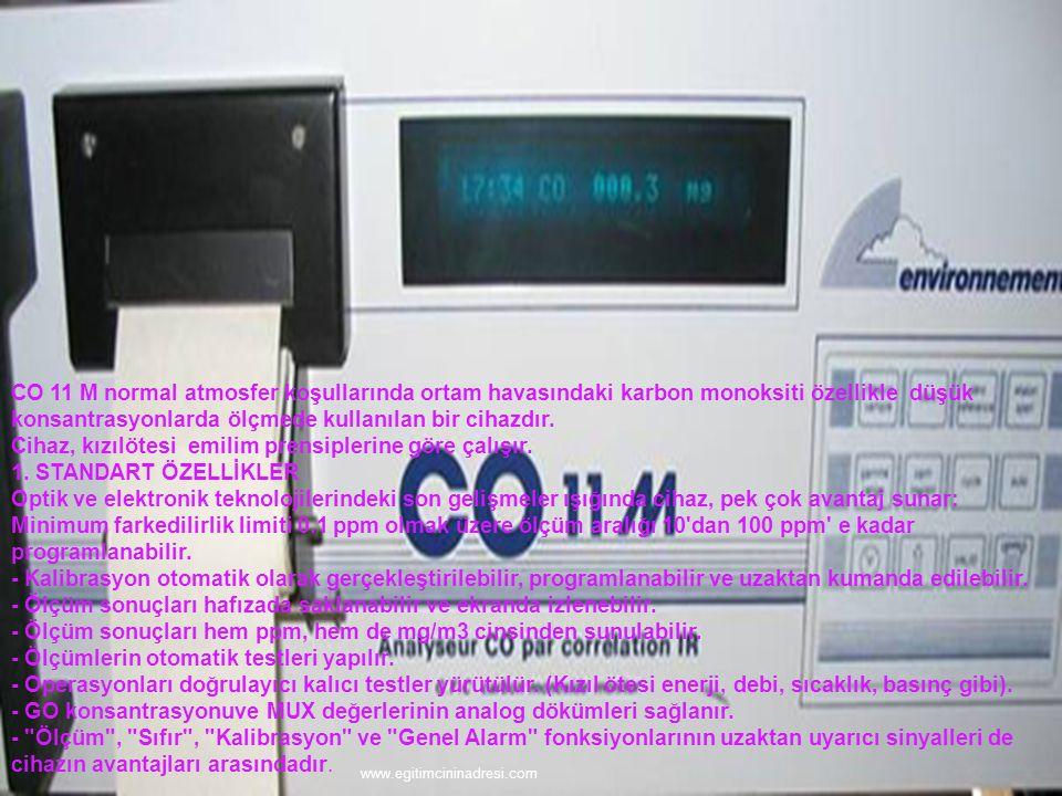  CO 11 M normal atmosfer koşullarında ortam havasındaki karbon monoksiti özellikle düşük konsantrasyonlarda ölçmede kullanılan bir cihazdır. Cihaz, k