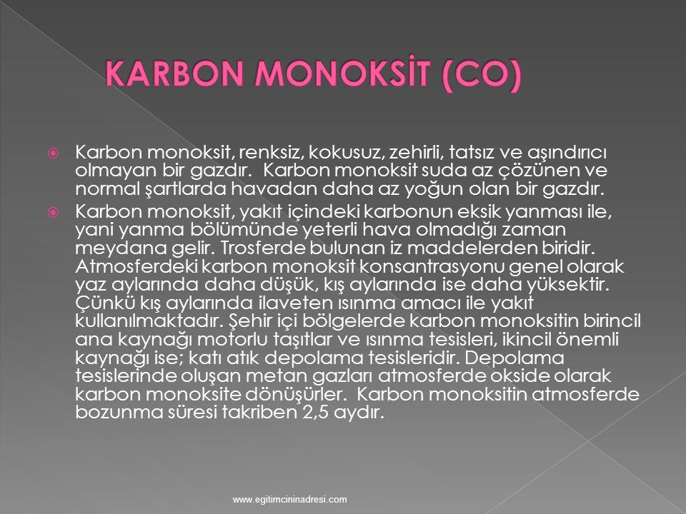  Karbon monoksit, renksiz, kokusuz, zehirli, tatsız ve aşındırıcı olmayan bir gazdır. Karbon monoksit suda az çözünen ve normal şartlarda havadan dah