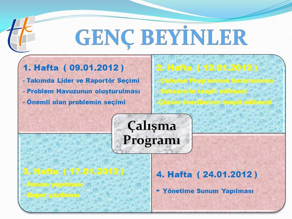 1. Hafta ( 09.01.2012 ) - Takımda Lider ve Raportör Seçimi - Problem Havuzunun oluşturulması - Önemli olan problemin seçimi 2. Hafta ( 12.01.2012 ) -