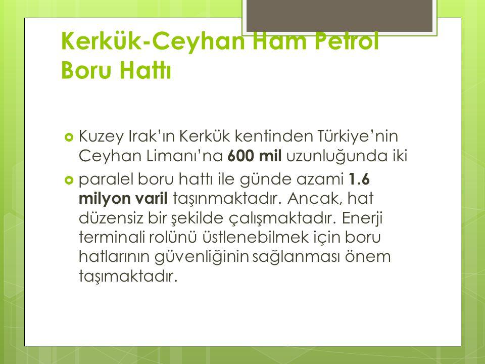Kerkük-Ceyhan Ham Petrol Boru Hattı  Kuzey Irak'ın Kerkük kentinden Türkiye'nin Ceyhan Limanı'na 600 mil uzunluğunda iki  paralel boru hattı ile günde azami 1.6 milyon varil taşınmaktadır.