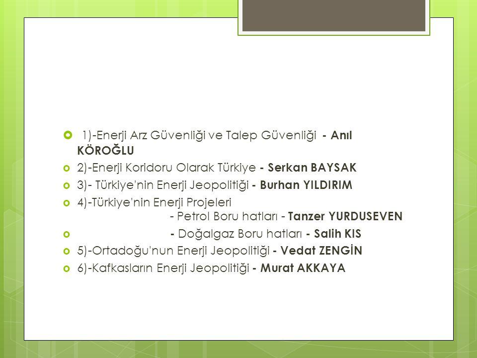  1)-Enerji Arz Güvenliği ve Talep Güvenliği - Anıl KÖROĞLU  2)-Enerji Koridoru Olarak Türkiye - Serkan BAYSAK  3)- Türkiye'nin Enerji Jeopolitiği -