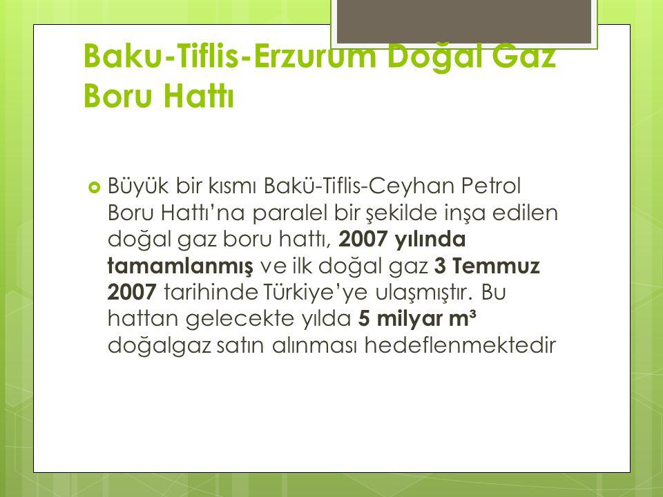 Baku-Tiflis-Erzurum Doğal Gaz Boru Hattı  Büyük bir kısmı Bakü-Tiflis-Ceyhan Petrol Boru Hattı'na paralel bir şekilde inşa edilen doğal gaz boru hattı, 2007 yılında tamamlanmış ve ilk doğal gaz 3 Temmuz 2007 tarihinde Türkiye'ye ulaşmıştır.