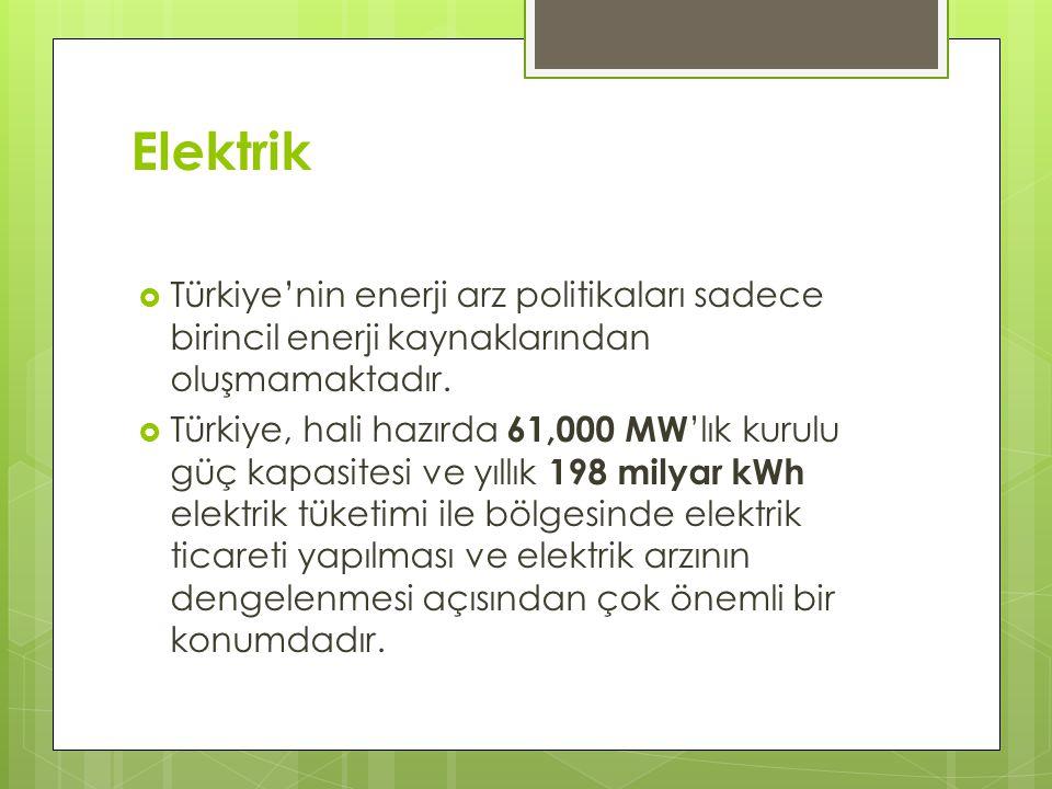 Elektrik  Türkiye'nin enerji arz politikaları sadece birincil enerji kaynaklarından oluşmamaktadır.  Türkiye, hali hazırda 61,000 MW 'lık kurulu güç