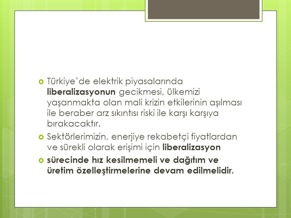  Türkiye'de elektrik piyasalarında liberalizasyonun gecikmesi, ülkemizi yaşanmakta olan mali krizin etkilerinin aşılması ile beraber arz sıkıntısı riski ile karşı karşıya bırakacaktır.