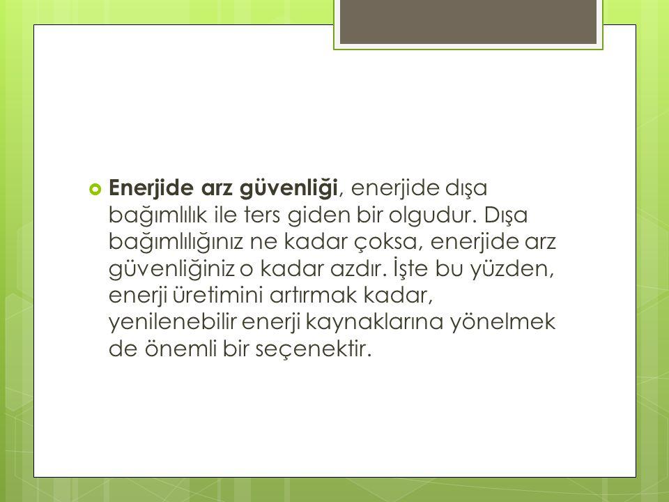 Türkiye nin enerji arz güvenliği tedbirleri kabaca:  - Yerli ve yenilenebilir enerjiye önem vermek - Enerji arz çeşitliliğini sağlamak için fosil yakıtlara alternatif olarak nükleer enerjiye yönelmek - Doğal gaz ithal kaynaklarını çeşitlendirmek - Doğal gaz depolama tesislerinin yapımını güçlendirmek