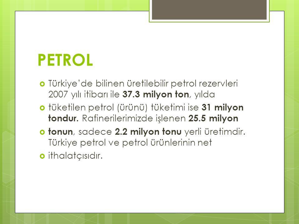 PETROL  Türkiye'de bilinen üretilebilir petrol rezervleri 2007 yılı itibarı ile 37.3 milyon ton, yılda  tüketilen petrol (ürünü) tüketimi ise 31 mil