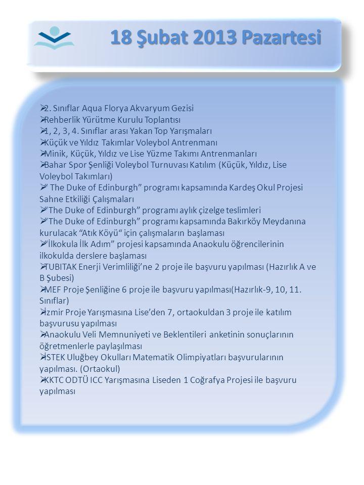 18 Şubat 2013 Pazartesi 18 Şubat 2013 Pazartesi  2. Sınıflar Aqua Florya Akvaryum Gezisi  Rehberlik Yürütme Kurulu Toplantısı  1, 2, 3, 4. Sınıflar