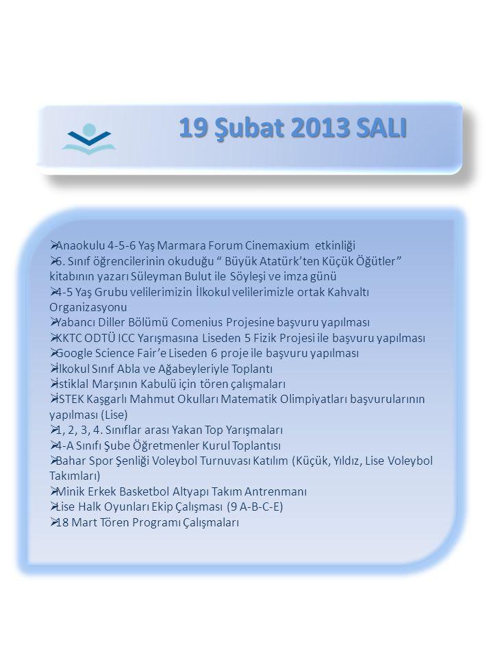 """19 Şubat 2013 SALI 19 Şubat 2013 SALI  Anaokulu 4-5-6 Yaş Marmara Forum Cinemaxium etkinliği  6. Sınıf öğrencilerinin okuduğu """" Büyük Atatürk'ten Kü"""