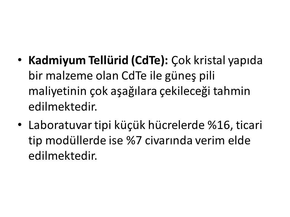 Kadmiyum Tellürid (CdTe): Çok kristal yapıda bir malzeme olan CdTe ile güneş pili maliyetinin çok aşağılara çekileceği tahmin edilmektedir. Laboratuva