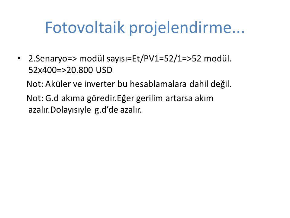 Fotovoltaik projelendirme... 2.Senaryo=> modül sayısı=Et/PV1=52/1=>52 modül. 52x400=>20.800 USD Not: Aküler ve inverter bu hesablamalara dahil değil.
