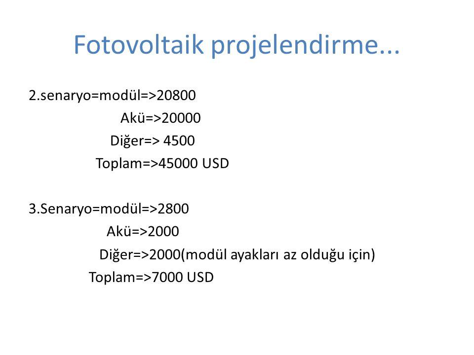 Fotovoltaik projelendirme... 2.senaryo=modül=>20800 Akü=>20000 Diğer=> 4500 Toplam=>45000 USD 3.Senaryo=modül=>2800 Akü=>2000 Diğer=>2000(modül ayakla