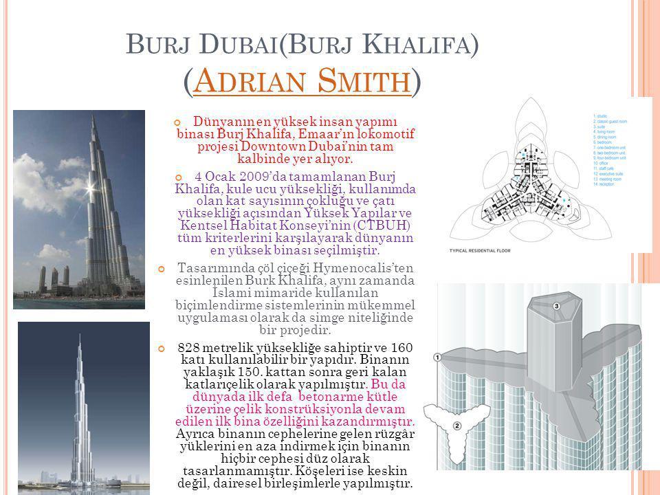 B URJ D UBAI (B URJ K HALIFA ) (A DRIAN S MITH )A DRIAN S MITH Dünyanın en yüksek insan yapımı binası Burj Khalifa, Emaar'ın lokomotif projesi Downtow