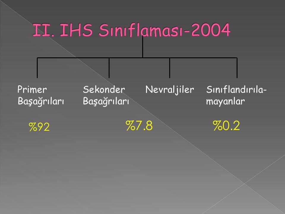 Primer Başağrıları Sekonder Başağrıları NevraljilerSınıflandırıla- mayanlar %92 %7.8%0.2