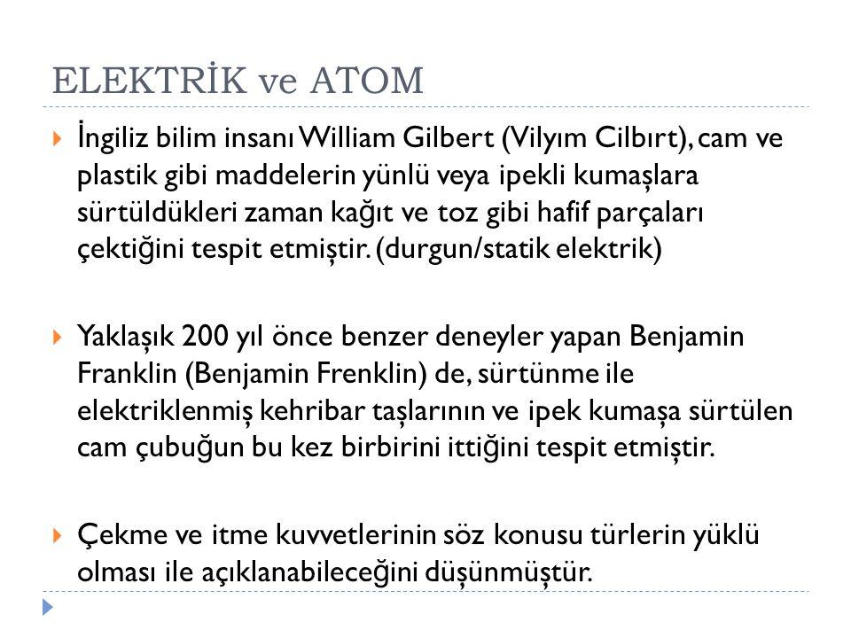 ELEKTRİK ve ATOM  İ ngiliz bilim insanı William Gilbert (Vilyım Cilbırt), cam ve plastik gibi maddelerin yünlü veya ipekli kumaşlara sürtüldükleri za