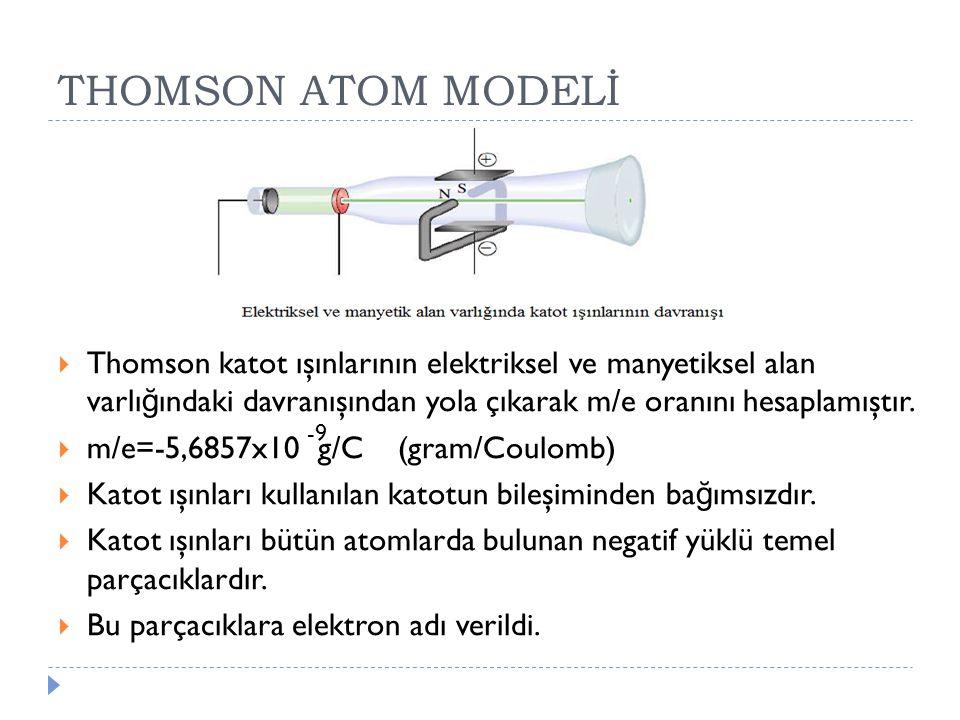  Thomson katot ışınlarının elektriksel ve manyetiksel alan varlı ğ ındaki davranışından yola çıkarak m/e oranını hesaplamıştır.  m/e=-5,6857x10 g/C