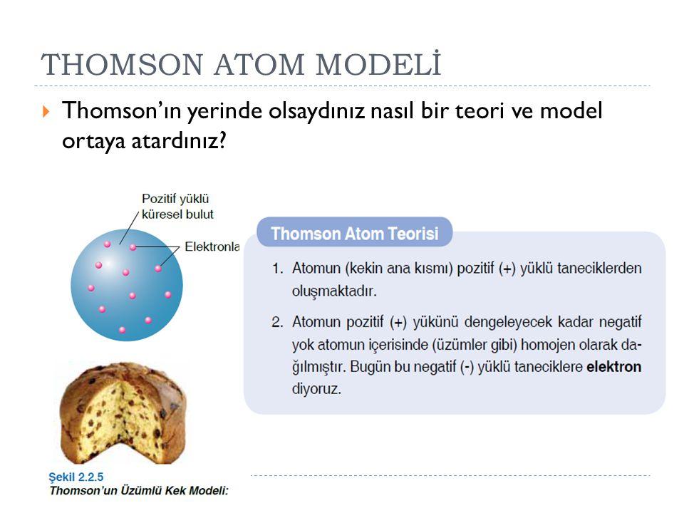 THOMSON ATOM MODELİ  Thomson'ın yerinde olsaydınız nasıl bir teori ve model ortaya atardınız?