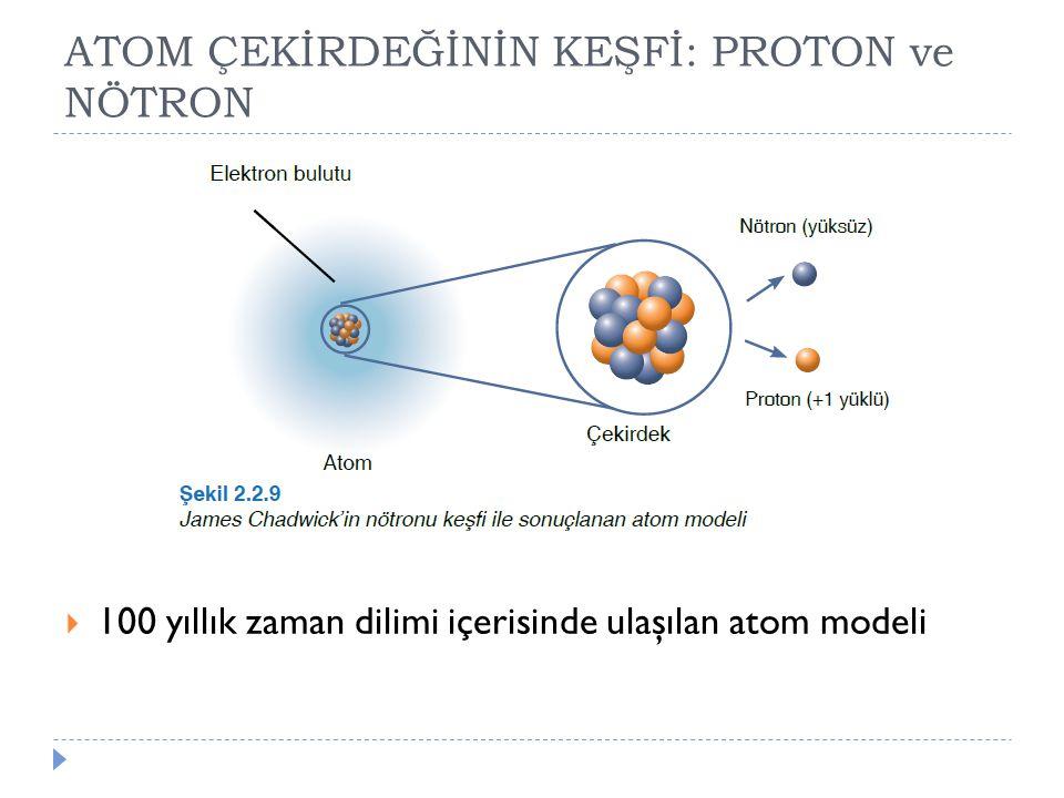 ATOM ÇEKİRDEĞİNİN KEŞFİ: PROTON ve NÖTRON  100 yıllık zaman dilimi içerisinde ulaşılan atom modeli