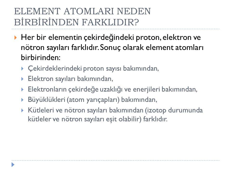 ELEMENT ATOMLARI NEDEN BİRBİRİNDEN FARKLIDIR?  Her bir elementin çekirde ğ indeki proton, elektron ve nötron sayıları farklıdır. Sonuç olarak element