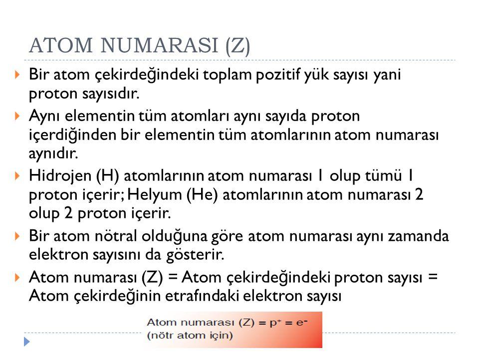 ATOM NUMARASI (Z)  Bir atom çekirde ğ indeki toplam pozitif yük sayısı yani proton sayısıdır.  Aynı elementin tüm atomları aynı sayıda proton içerdi
