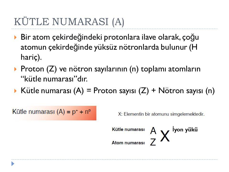 KÜTLE NUMARASI (A)  Bir atom çekirde ğ indeki protonlara ilave olarak, ço ğ u atomun çekirde ğ inde yüksüz nötronlarda bulunur (H hariç).  Proton (Z