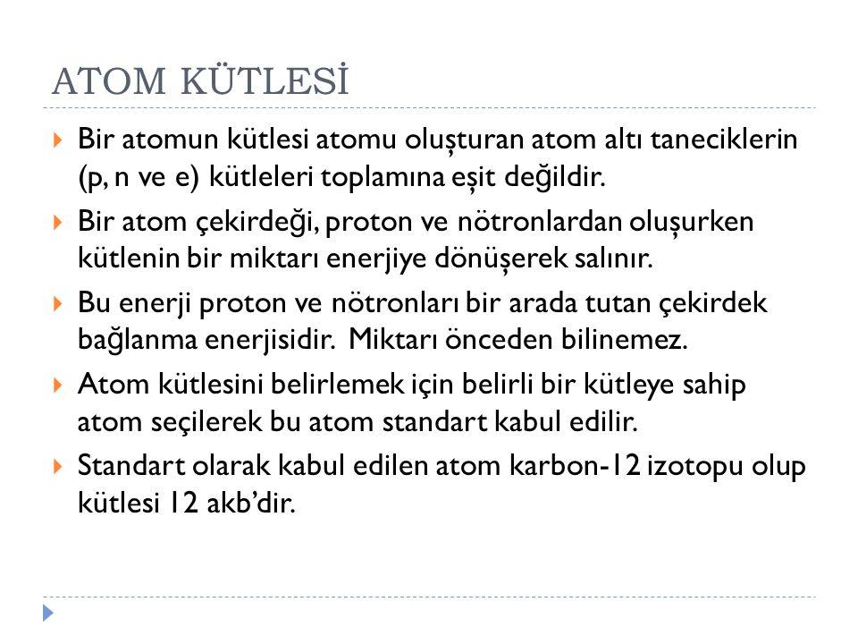 ATOM KÜTLESİ  Bir atomun kütlesi atomu oluşturan atom altı taneciklerin (p, n ve e) kütleleri toplamına eşit de ğ ildir.  Bir atom çekirde ğ i, prot