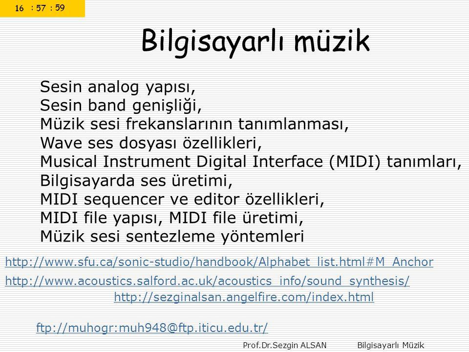Prof.Dr.Sezgin ALSAN Bilgisayarlı Müzik Bilgisayarlı müzik Sesin analog yapısı, Sesin band genişliği, Müzik sesi frekanslarının tanımlanması, Wave ses