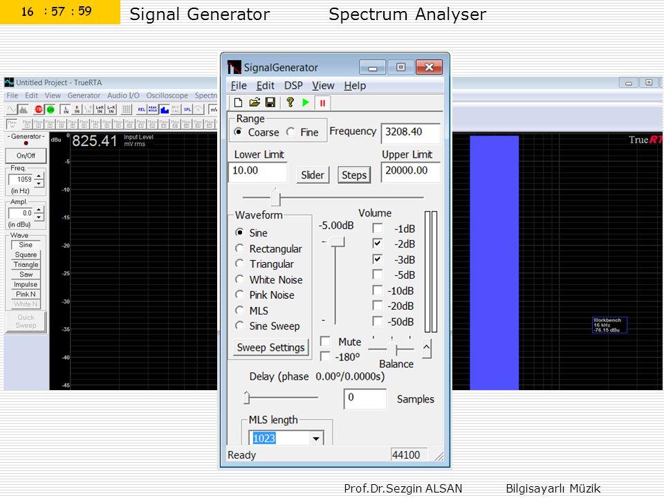 Prof.Dr.Sezgin ALSAN Bilgisayarlı Müzik Signal GeneratorSpectrum Analyser