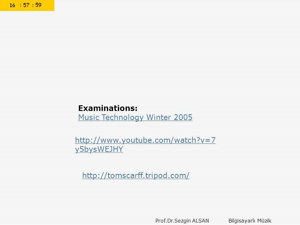 Prof.Dr.Sezgin ALSAN Bilgisayarlı Müzik Examinations: Music Technology Winter 2005 http://www.youtube.com/watch?v=7 y5bysWEJHY http://tomscarff.tripod