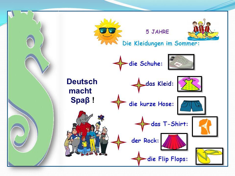 5 JAHRE Deutsch macht Spaβ ! das Kleid: Die Kleidungen im Sommer: die Schuhe: die kurze Hose: das T-Shirt: der Rock: die Flip Flops: