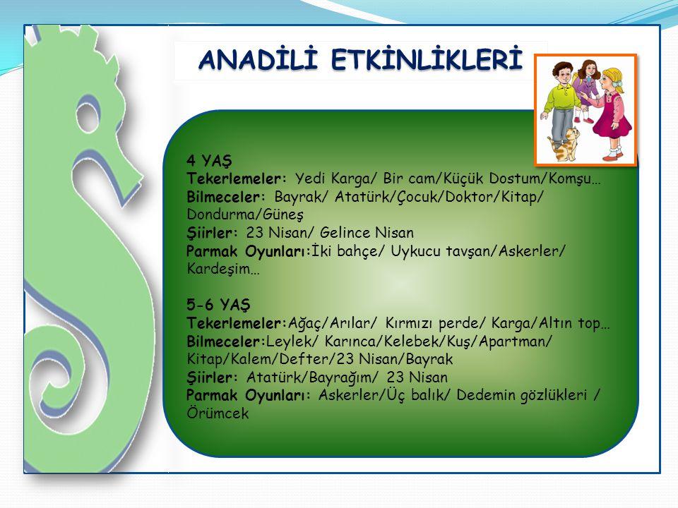 ANADİLİ ETKİNLİKLERİ 4 YAŞ Tekerlemeler: Yedi Karga/ Bir cam/Küçük Dostum/Komşu… Bilmeceler: Bayrak/ Atatürk/Çocuk/Doktor/Kitap/ Dondurma/Güneş Şiirle