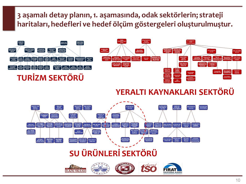3 aşamalı detay planın, 1. aşamasında, odak sektörlerin; strateji haritaları, hedefleri ve hedef ölçüm göstergeleri oluşturulmuştur. 10 TURİZM SEKTÖRÜ