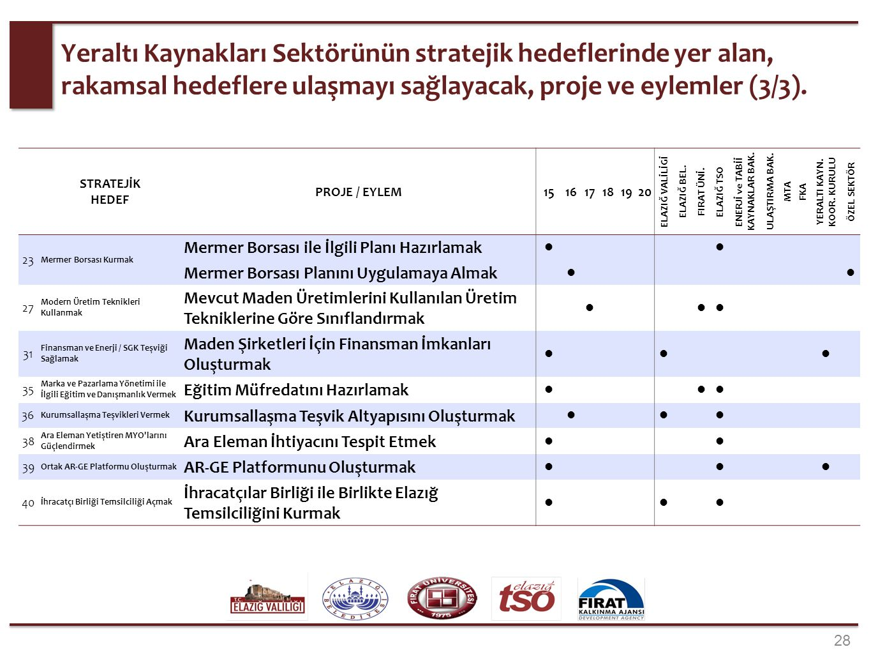 28 Yeraltı Kaynakları Sektörünün stratejik hedeflerinde yer alan, rakamsal hedeflere ulaşmayı sağlayacak, proje ve eylemler (3/3). STRATEJİK HEDEF PRO