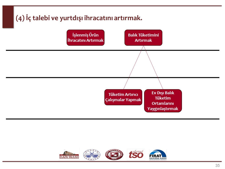 35 (4) İç talebi ve yurtdışı ihracatını artırmak. İşlenmiş Ürün İhracatını Artırmak Balık Tüketimini Artırmak Tüketim Artırıcı Çalışmalar Yapmak Ev Dı