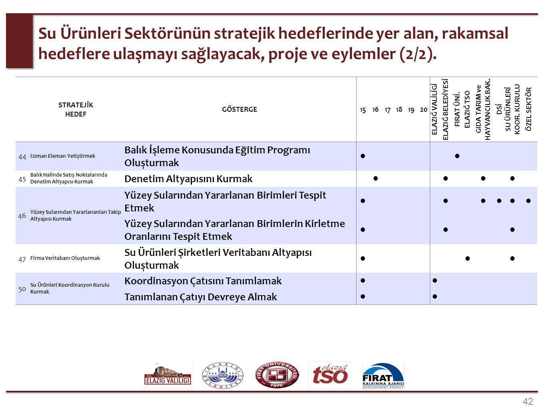 42 Su Ürünleri Sektörünün stratejik hedeflerinde yer alan, rakamsal hedeflere ulaşmayı sağlayacak, proje ve eylemler (2/2). STRATEJİK HEDEF GÖSTERGE15