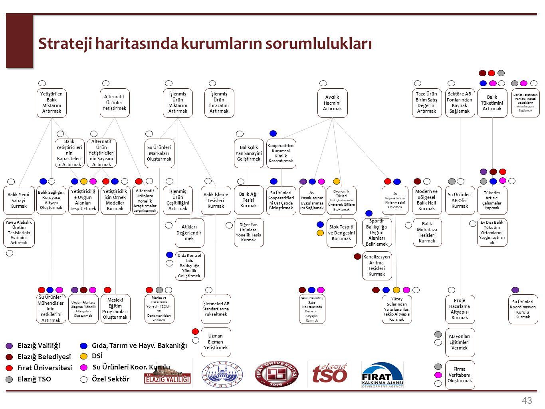 43 Strateji haritasında kurumların sorumlulukları Yetiştirilen Balık Miktarını Artırmak Balık Ağı Tesisi Kurmak Balık Yetiştiricileri nin Kapasiteleri