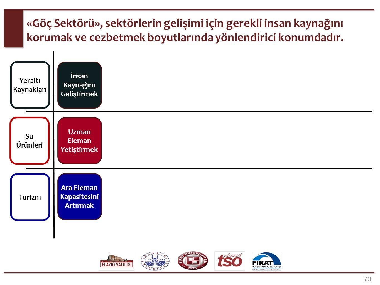 70 «Göç Sektörü», sektörlerin gelişimi için gerekli insan kaynağını korumak ve cezbetmek boyutlarında yönlendirici konumdadır. Yeraltı Kaynakları Su Ü
