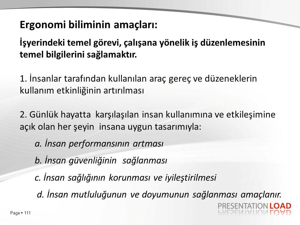 Page  111 Ergonomi biliminin amaçları: İşyerindeki temel görevi, çalışana yönelik iş düzenlemesinin temel bilgilerini sağlamaktır. 1. İnsanlar tarafı