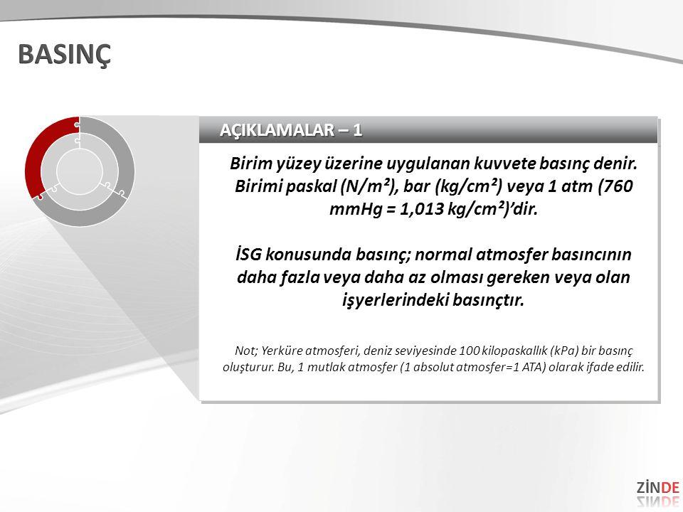 AÇIKLAMALAR – 1 Birim yüzey üzerine uygulanan kuvvete basınç denir. Birimi paskal (N/m²), bar (kg/cm²) veya 1 atm (760 mmHg = 1,013 kg/cm²)'dir. İSG k