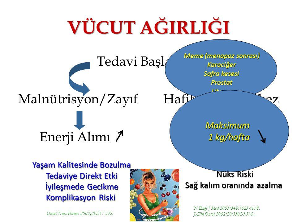 Tedavi Başlangıcı Malnütrisyon/Zayıf Hafif Şişman/Obez Enerji Alımı VÜCUT AĞIRLIĞI N Engl J Med 2003;348:1625-1638.